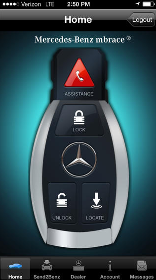 Source: Mercedes-Benz mbrace app (www.itunes.apple.com)