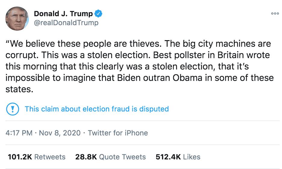 eNitiate | Donald Trump Tweet | Nov 2020